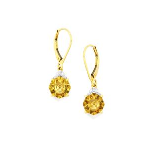 Lehrer KaleidosCut Champagne Quartz, Gouveia Andalusite Earrings with Diamond in 9K Gold 3.42cts