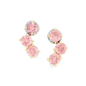 Mozambique Pink Spinel Earrings in 10K Gold 2.51cts