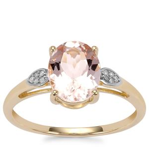 Alto Ligonha Morganite Ring with Diamond in 10K Gold 1.66cts