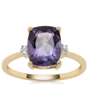 Montezuma Blue Quartz Ring with Diamond in 9K Gold 2.63cts