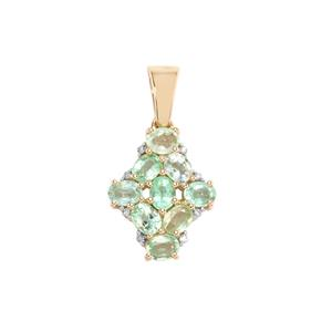 Paraiba Tourmaline Pendant with Diamond in 10k Gold 1.54cts