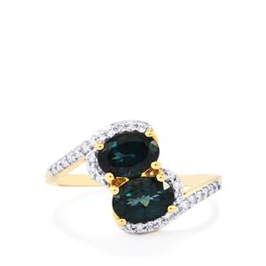 Mahenge Blue Spinel Ring with Diamond in 18K Gold 1.76cts