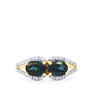 Mahenge Blue Spinel Ring with Diamond in 18K Gold 1.80cts