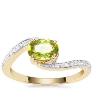 Ambilobe Sphene Ring with White Zircon in 9K Gold 1.13cts