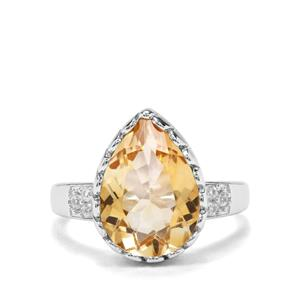 Diamantina Citrine & White Zircon Sterling Silver Ring ATGW 4.57cts