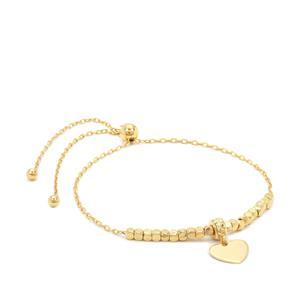 """10"""" Midas Altro Long Link Heart Charm Slider Bracelet 3.10g"""