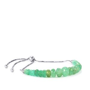 Siberian Emerald Slider Graduated Bead Bracelet in Sterling Silver 12.50cts