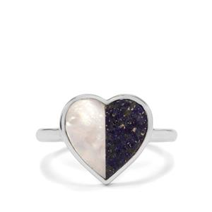 Mother of Pearl & Sar-i-Sang Lapis Lazuli Sterling Silver Ring (12.80mm x 6.50)