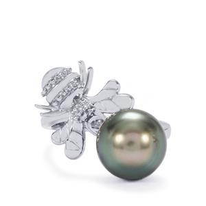 Tahitian Cultured Pearl Ring in Sterling Silver (12mm x 10mm)