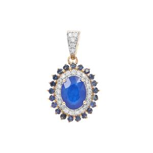 Santorinite™ Blue Spinel, white Zircon Pendant with Thai Sapphire in 9K Gold 2.06cts