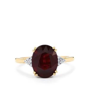 Malawi Garnet Ring with Diamond in 14K Gold 4.50cts