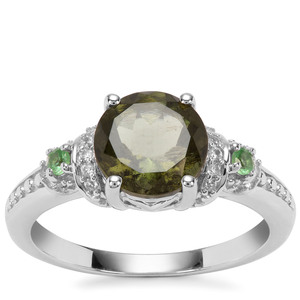 Moldavite,Tsavorite Garnet Ring with White Zircon in Sterling Silver 1.80cts