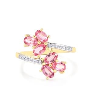 Sakaraha Pink Sapphire Ring with Diamond in 9K Gold 1.80cts