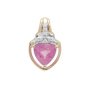 Ilakaka Hot Pink Sapphire Pendant with White Zircon in 9K Gold 1.10cts (F)
