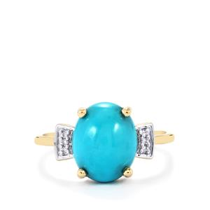 Sleeping Beauty Turquoise Ring with Diamond in 9K Gold 3.25cts