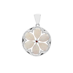 Coober Pedy Opal Pendant with Rajasthan Garnet in Sterling Silver 4.02cts