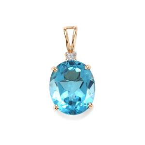 Swiss Blue Topaz Pendant with White Zircon in 10K Gold 5.93cts