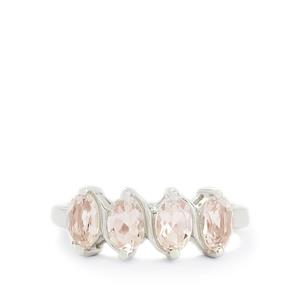 1.27ct Zambezia Morganite Sterling Silver Ring