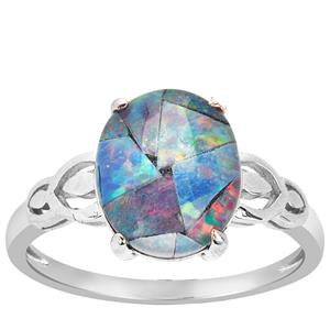 Mosaic Opal Ring in Sterling Silver (11x9mm)