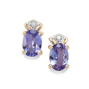 AA Tanzanite & Diamond 9K Gold Earrings ATGW 1.25cts