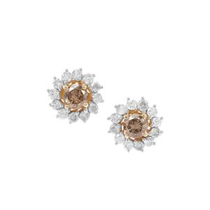 Champagne Diamond Earrings with White Diamond in 9K Gold 1.05cts