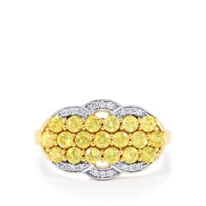 Ambilobe Sphene Ring with Diamond in 14k Gold 1.44cts