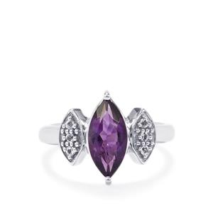 Zambian Amethyst & White Topaz Sterling Silver Ring ATGW 1.68cts