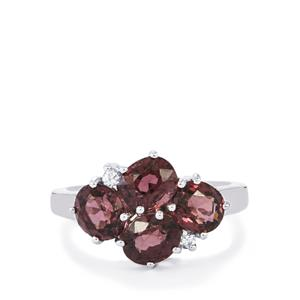 Natural Burmese Spinel Ring with White Zircon in Sterling Silver 4.03cts