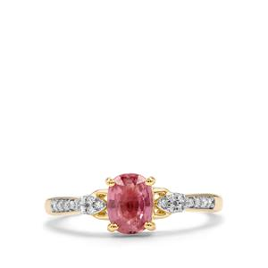 Padparadscha Sapphire Ring with Diamond in 14k Gold 1.12cts