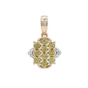 Mansanite™ Pendant with Diamond in 9K Gold 0.85ct