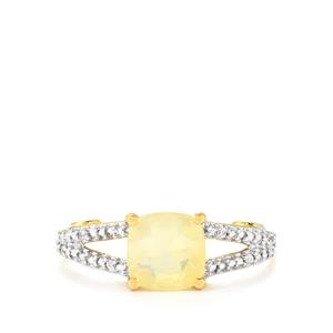 Ethiopian Opal, Ambilobe Sphene Ring with White Zircon in 10k Gold 1.06cts