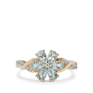 Santa Maria Aquamarine Ring with White Zircon in 9K Gold 1.10cts