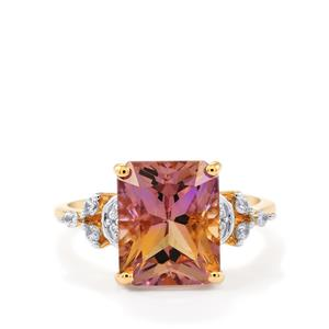 Anahi Ametrine Ring with White Zircon in 9K Gold 4.46cts