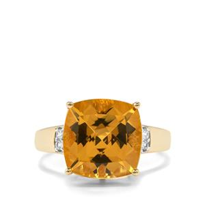 Xia Heliodor & White Zircon 10K Gold Ring ATGW 5.33cts