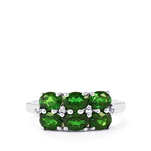 Chrome Diopside Ring with White Topaz in Sterling Silver 2.27cts