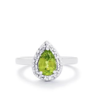 Changbai Peridot & White Topaz Sterling Silver Ring ATGW 1.66cts