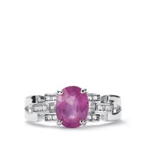 Ilakaka Hot Pink Sapphire Ring with White Topaz in Sterling Silver 2.81cts (F)