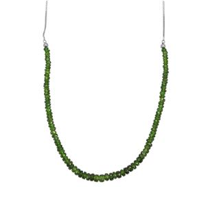 30ct Chrome Diopside Sterling Silver Slider Graduated Bead Necklace