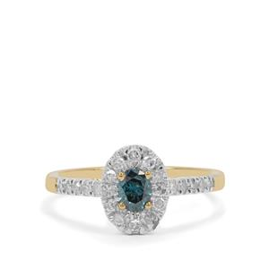 Blue Diamond Ring with White Diamond in 9K Gold 0.70ct