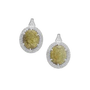 Grossular Earrings with White Zircon in Sterling Silver 14.50cts