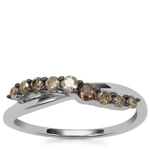 Multi-Colour Diamond Ring in Sterling Silver 0.36ct