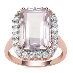 Rose De France Amethyst Ring with White Zircon in Rose Gold Plated Sterling Silver 8.17cts