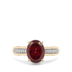 Mahenge Garnet Ring with Diamond in 18k Gold 3.26cts