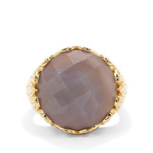 Grey Agate Ring in Gold Plated Sterling Silver 14.76cts