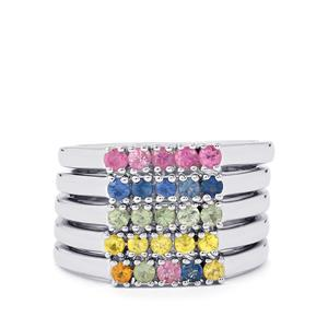 1.05ct Rainbow Sapphire Sterling Silver Set of 5 Rings