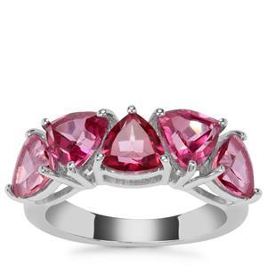 Mystic Pink Topaz Ring in Sterling Silver 4.46cts