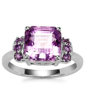 Asscher Cut Zambian Amethyst Ring in Sterling Silver 3.72cts