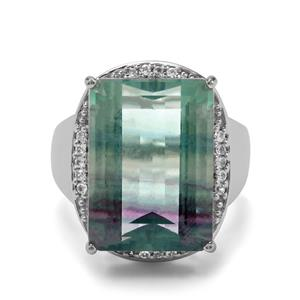Zebra Fluorite Ring with White Zircon in Sterling Silver 20.69cts
