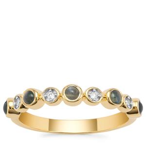 Cats Eye Alexandrite Ring with White Zircon in 9K Gold 0.40ct