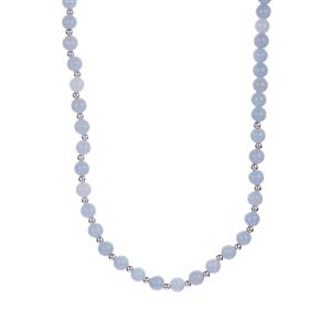 Angelite Necklace with Magnetic Lock in Sterling Silver 121.83cts